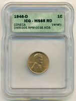 1946 D LINCOLN CENT CONECA VARIETY DMR-005 RPM-003B.MDS UNC MINT STATE 65 RED ICG