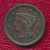 1855 BRAIDED LARGE CENT VARIETY WITH SLANTED