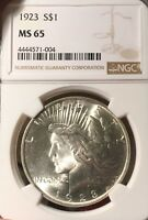 1923 NGC MINT STATE 65 PEACE SILVER DOLLAR