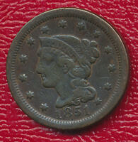 1851 BRAIDED HAIR LARGE CENT AMAZING TYPE COIN SHIPS FREE