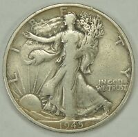 1945-S 50C WALKING LIBERTY SILVER HALF DOLLAR FINE / VF  052218
