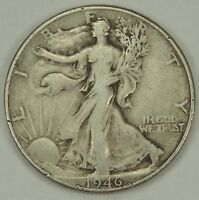 1946-P 50C WALKING LIBERTY SILVER HALF DOLLAR VF  052218