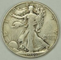 1946-D 50C WALKING LIBERTY SILVER HALF DOLLAR FINE  052218