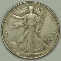 1947-P 50C WALKING LIBERTY SILVER HALF DOLLAR EXTRA FINE   052218