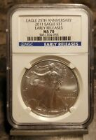 2011 W AMERICAN EAGLE SILVER DOLLAR NGC MS 70 EARLY RELEASES 25TH ANNIVERSARY