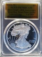2016-W $1 SILVER EAGLE PCGS PR70 DCAM FIRST DAY 30TH ANNIVERSARY, GOLD FOIL