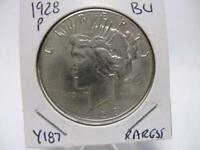 DATE 1928 PEACE DOLLAR PQ CHBU CONDITION  ESTATE COIN   Y187