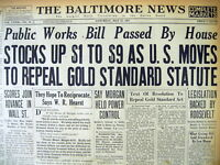 1933 HEADLINE NEWSPAPER NUMISMATICS POSSESSION OF US GOLD COINS TO BE OUTLAWED