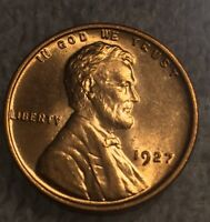 1927 LINCOLN WHEAT RED BU LINCOLN CENT  GREAT STRIKE AND LUSTER