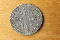 BRITISH QUEEN ANNE STERLING SILVER SIXPENCE COIN 1705 VERY F