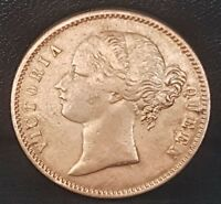 VICTORIAN YOUNG HEAD 1840 EAST INDIA COMPANY ONE 1 RUPEE SIL