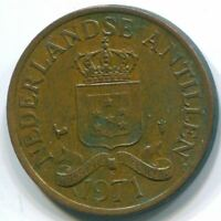 1971 NETHERLANDS ANTILLES 2 1/2 CENT BRONZE COLONIAL COIN S10491