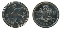 BARBADOS 10 CENTS 2.09 G NICKEL PLATED STEEL COIN 2012 KM  12A MINT FLYING BIRD