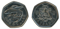 BARBADOS 1 DOLLAR 5.95G NICKEL PLATED STEEL COIN 2012 KM 14.2A MINT FLYING FISH