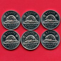 LOT OF 6 CANADA 1964 5 CENT COINS ALL HIGH GRADE
