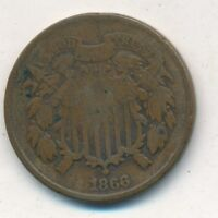 1866 TWO CENT PIECE-A  CIRCULATED COPPER TYPE COIN-SHIPS FREE  INV:3
