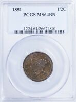 1851 BRAIDED HAIR HALF CENT PCGS MINT STATE 64BN LOTS OF MINT RED LUSTER