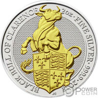 BLACK BULL QUEEN BEASTS GILDED 2 OZ SILVER COIN 5 UNITED KIN