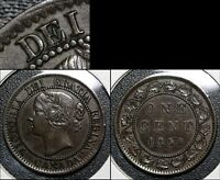 SUMMER SALE   CANADA LARGE CENT   1859 REPUNCHED E IN DEI   AU  R027