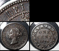 SUMMER SALE   CANADA LARGE CENT 1890H REPUNCHED I IN DEI EF    R085