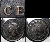 SUMMER SALE   CANADA LARGE CENT 1891 DIE CHIP C CENT   EF EARLY STATE   R087