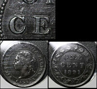 SUMMER SALE   CANADA LARGE CENT 1891 DIE CHIP C CENT   EF EARLY STATE   R088