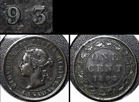 SUMMER SALE   CANADA LARGE CENT 1893 REPUNCHED 9   VF   R114