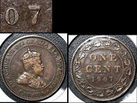 SUMMER SALE   CANADA LARGE CENT 1907 REPUNCHED 7 HIGH OVER LOW   EF  R137