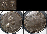 SUMMER SALE   CANADA LARGE CENT 1907 REPUNCHED 7 RIGHT OVER LEFT   EF  R138