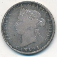 1874 H SILVER CANADA TWENTY FIVE CENTS NICE CIRCULATED 25 CENT PIECE SHIPS FREE