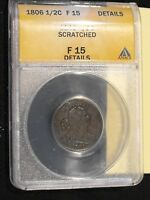1806 HALF CENT CERTIFIED F 15 DETAILS BY ANACS. FREE US SHIPPING.