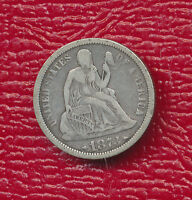 1873 SEATED LIBERTY SILVER DIME WITH ARROWS -  TONING SHIPS FREE
