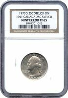 1970 S PROOF WASHINGTON QUARTER STRUCK ON 1941 CANADA QUARTER NGC PF 65 UNIQUE