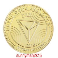 TRX ZINC ALLOY GOLD PLATED NON CURRENCY BITCOIN COMMEMORATIVE COIN COLLECTION