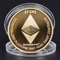 GOLD PLATED COMMEMORATIVE COLLECTIBLE GOLDEN IRON ETH ETHEREUM MINER COIN NEW.