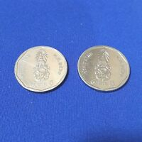 2X THAI COIN 5 BAHT THAILAND CURRENCY CHANGE KING RAMA X MONEY COLLECTIBLES