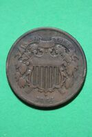 1864 2 CENT SHIELD COIN ROTATED DIE EXACT COIN SHOWN FLAT RATE SHIPPING OCE138