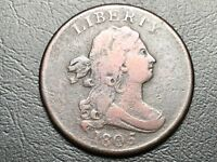 1805 C-4 R-2- LARGE 5 W/ STEMS DRAPED BUST HALF CENT COIN 1/2C 11-37