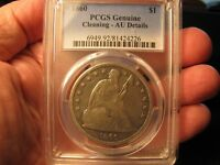 1860 SEATED LIBERTY SILVER DOLLAR PCGS A.U. DETAILS SHIPS FREE