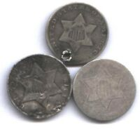 3 US THREE CENT SILVER  1861, 1858, 1852  ALL 3 TYPES    AFFORDABLE