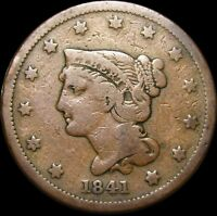 1841 BRAIDED HAIR LARGE CENT   ---- TYPE COIN ---- P087