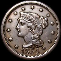 1854 BRAIDED HAIR LARGE CENT MISPLACED DATE ERROR  ---- TYPE COIN ---- P089