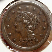 1852 BRAIDED HAIR LARGE CENT, ORIGINAL ALMOST UNCIRCULATED COIN FOR TYPE 1208-22
