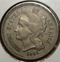 1865 THREE CENT NICKEL, ORIGINAL CHOICE ALMOST UNCIRCULATED TYPE COIN  0912-01