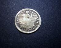 1854 SEATED LIBERTY SILVER U.S. HALF DIME COIN - WITH ARROWS - LOOK   207M