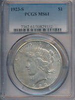 1923-S PEACE SILVER DOLLAR PCGS CERTIFIED MINT STATE 61 SHIPS FREE