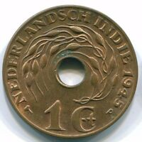 S 1945 NETHERLANDS EAST INDIES 1 CENT BRONZE COLONIAL COIN S10324