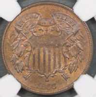 1866 TWO CENT PIECE NGC MINT STATE 64 RB 2 CENT