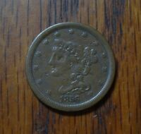 1856 BRAIDED HAIR HALF CENT      YEAR WITH ONLY 40,230 MINTED