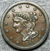 1851 BRAIDED HAIR HALF CENT --- STUNNING 1 AFTER DATE MISPLACED DATE --- A831